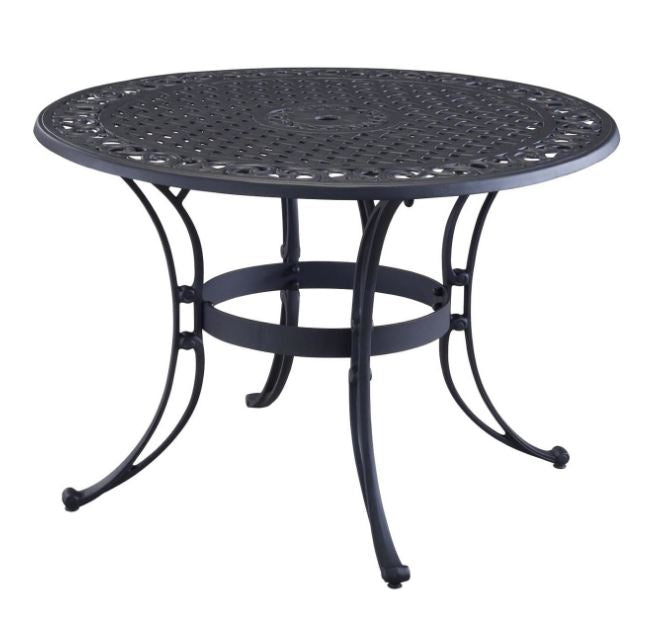 42-inch Round Black Metal Patio Dining Table with Umbrella Hole - YourGardenStop
