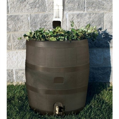 35 Gallon Round Rain Barrel with Built in Planter - YourGardenStop