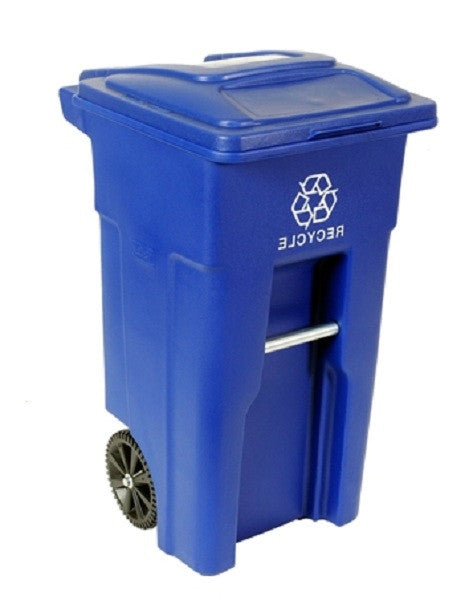 32 Gallon Blue Commercial Heavy Duty Rollout Recycler Trash Can Container - YourGardenStop