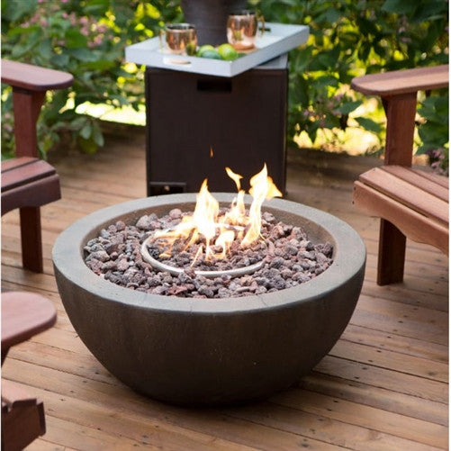 28 Quot Round Gray Enviro Stone Fire Pit Propane Or Natural