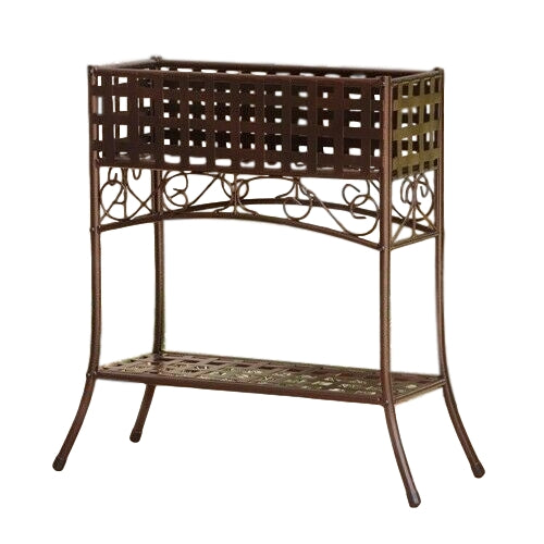 Elevated Wrought Iron Metal Plant Planter Stand in Bronze - YourGardenStop