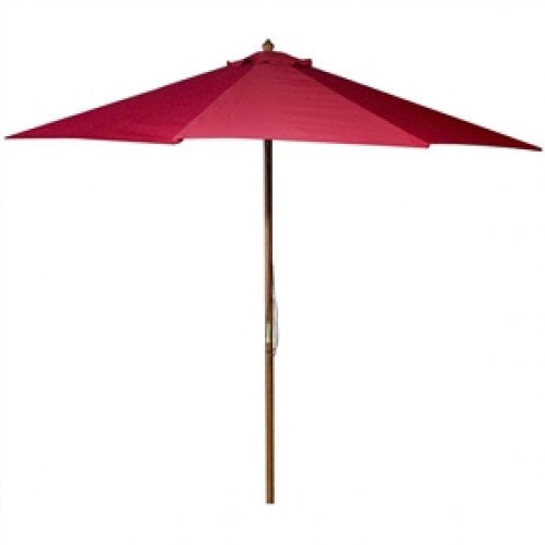 9-Ft Wooden Patio Umbrella with Red Polyester Canopy - YourGardenStop