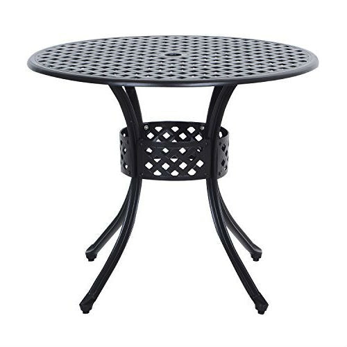 Round Metal 36 inch Outdoor Patio Table in Black Cast Aluminum - YourGardenStop