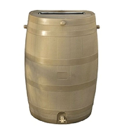 50-Gallon Tan Plastic Rain Barrel with Brass Spigot - YourGardenStop