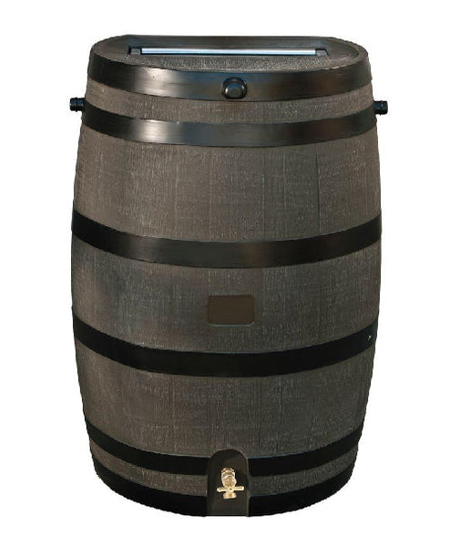 50-Gallon Wood Grain Rain Barrel with Brass Spigot - YourGardenStop