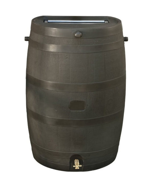 50-Gallon Brown Rain Water Barrel with Brass Spigot - YourGardenStop
