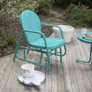 Aqua Teal Turquoise Blue Outdoor Retro Modern Classic Patio Glider Chair - YourGardenStop