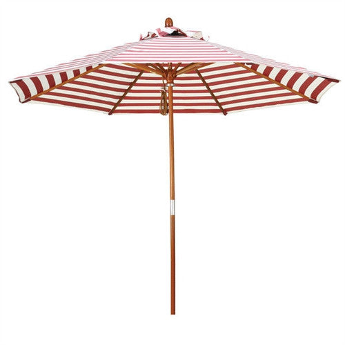 Red and Natural White Striped 9-Ft Patio Umbrella with Wood Pole - YourGardenStop