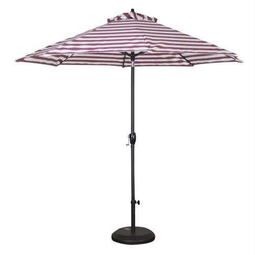 Red and White Stripe 9-Ft Market Patio Umbrella with Push Button Tilt - YourGardenStop