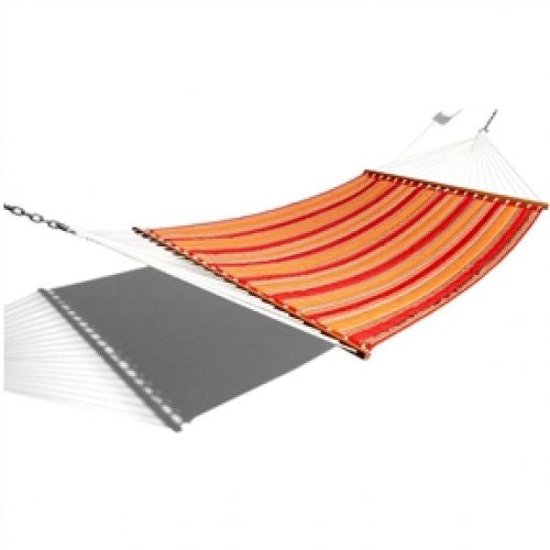 Red Orange Stripe Quilted Fabric Outdoor Hammock - YourGardenStop