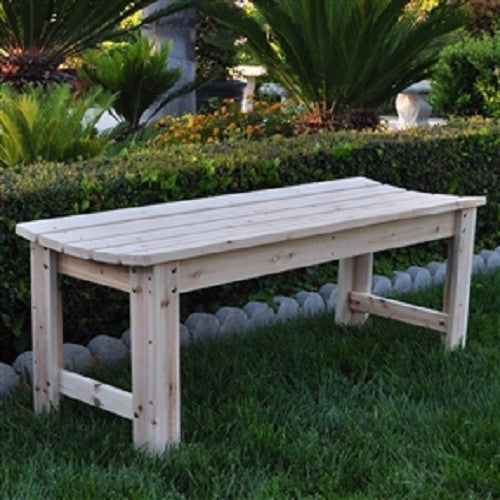 5-Ft Backless Garden Bench in Natural Yellow Cedar Wood - YourGardenStop