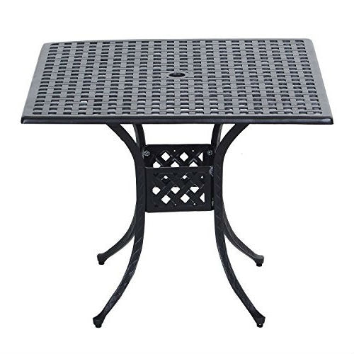 Square 39 x 39 inch Outdoor Patio Dining Table with Black Metal Finish - YourGardenStop