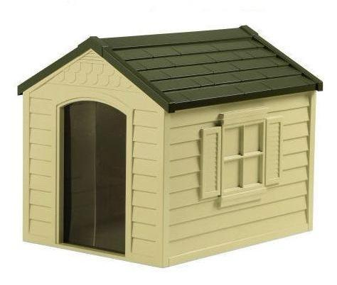 Medium Size Outdoor Resin Construction Snap Together Dog House - YourGardenStop