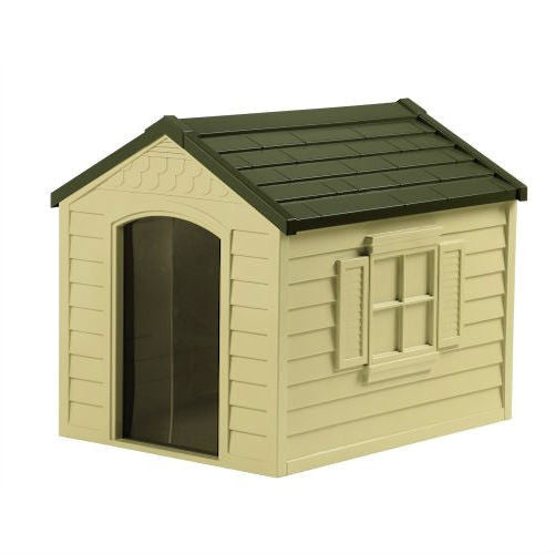 Durable Outdoor Plastic Dog House in Taupe and Bronze For Dogs up to 70 pounds - YourGardenStop