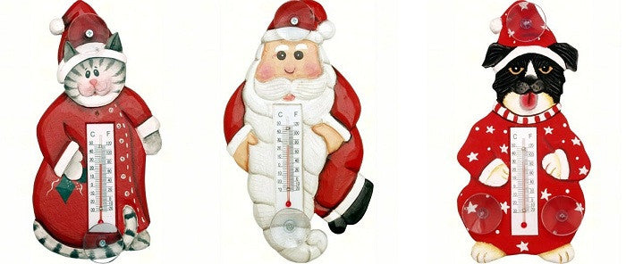 Christmas Window Thermometers (Santa, Cat or Dog) - YourGardenStop