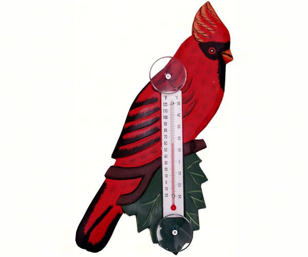 Cardinal on a Branch or Blue Jay on a Branch Small Window Thermometers - YourGardenStop