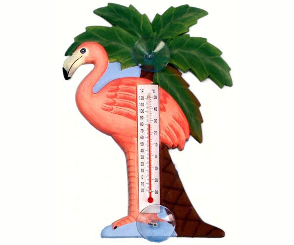 Flamingo and Palm Tree Small Window Thermometer - YourGardenStop