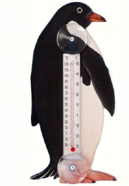 Penguin in Profile Small Window Thermometer - YourGardenStop