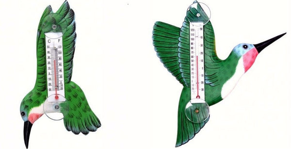 Green Hummingbird Small Window Thermometer - 2 Styles - YourGardenStop