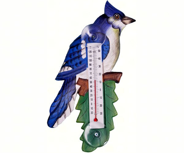 Cardinal, Robin or Blue Jay on a Branch Small Window Thermometers - YourGardenStop