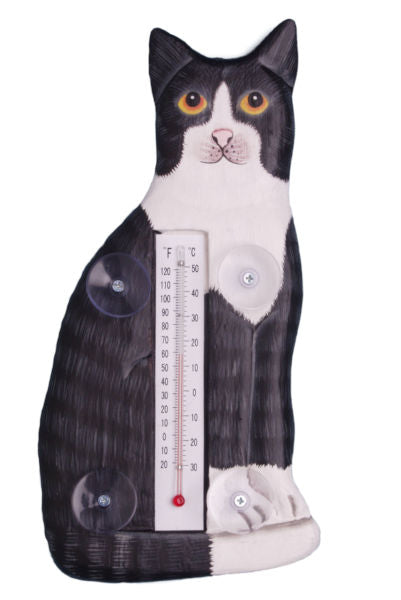 Sitting Black & White Cat Small Window Thermometer - YourGardenStop