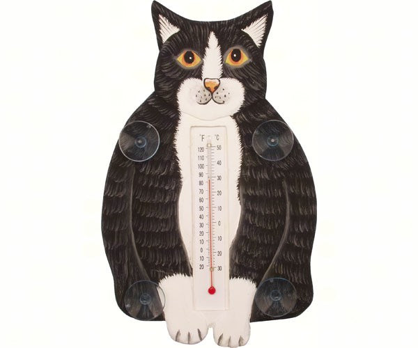 Fat Black & White Cat Small Window Thermometer - YourGardenStop