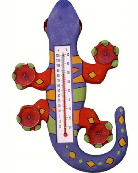 Climbing Purple Orange & Green Gecko Small Window Thermometer - YourGardenStop