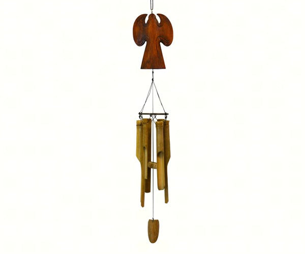 Wooden Angel Bamboo Chime (Natural or White) - YourGardenStop