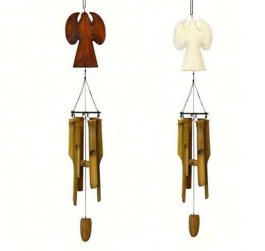 Wooden Angel Bamboo Chime (Natural or White)