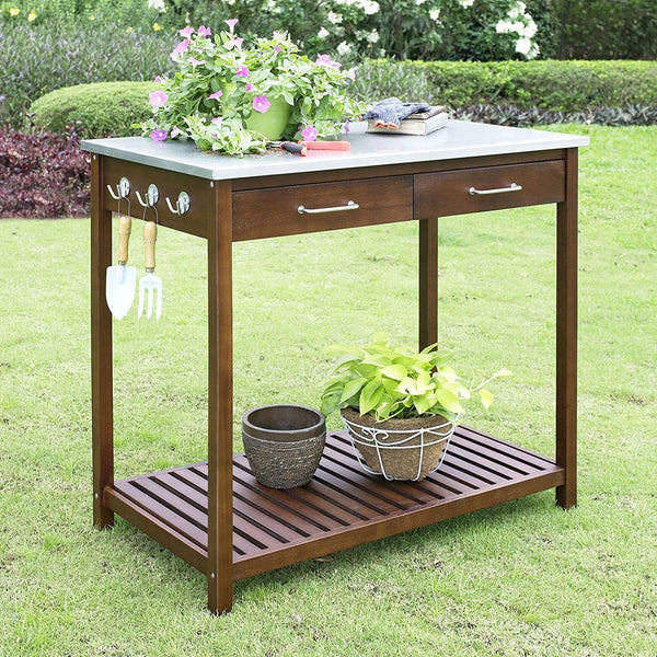 Outdoor Solid Wood Potting Bench Work Table with Galvanized Metal Top