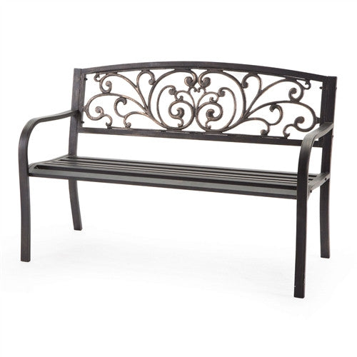 Curved Metal Bench with Heart Pattern in Black Antique Bronze Finish