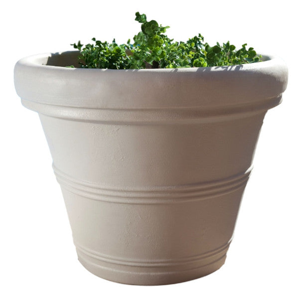 12-inch Diameter Round Planter in Weathered Stone Finish Poly Resin - YourGardenStop