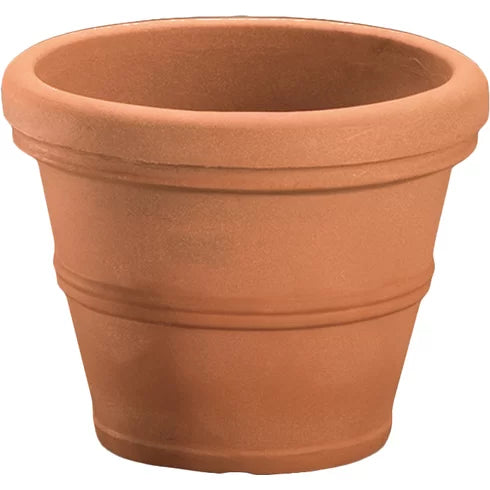 Weathered Terracotta 12-inch Diameter Round Planter in Poly Resin - YourGardenStop