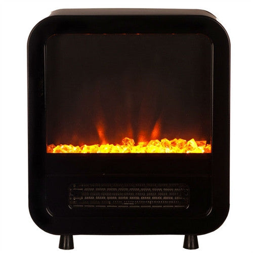 1,500 Watt Electric Fireplace Space Heater in Black with LED Lighting - YourGardenStop