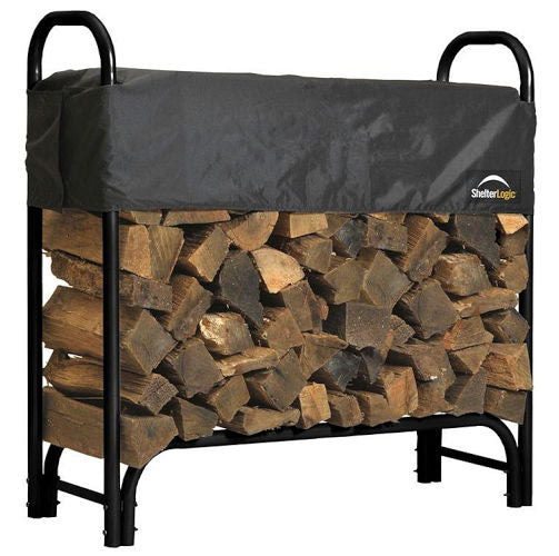 Outdoor Firewood Rack 4-Ft Steel Frame Wood Log Storage with Cover - YourGardenStop