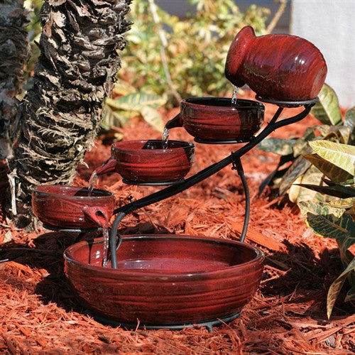 Red Ceramic 5-Tier Hand Painted Bird Bath Fountain with Solar Pump - YourGardenStop