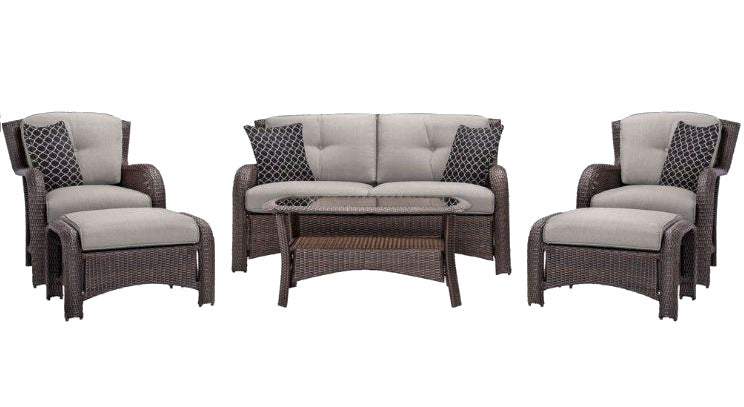 6-Piece Brown Resin Wicker Patio Furniture Set with Silver Cushions - YourGardenStop