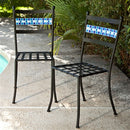 Set of 2 - Black Iron Metal Patio Chairs with Aqua Backrest - YourGardenStop
