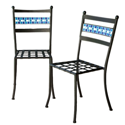 Set of 2 - Black Powder Coated Iron Metal Patio Bistro Chairs with Aqua Blue Backrest - YourGardenStop