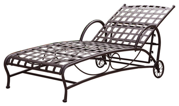 Outdoor Multi-Position Iron Chaise Lounge Chair in Black - YourGardenStop