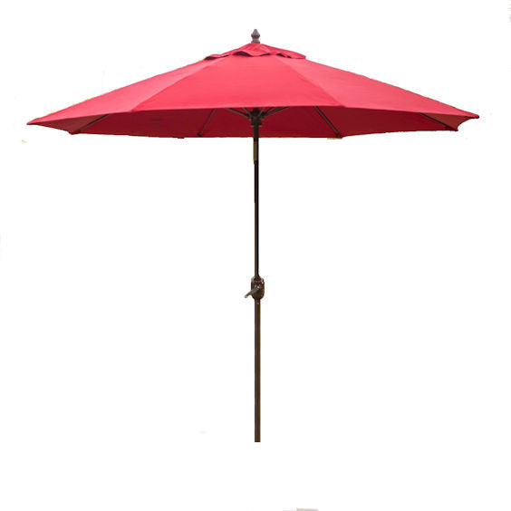 Sunbrella 9 Ft Patio Umbrella with Deluxe Tilt in Antique Bronze with Red Shade - YourGardenStop