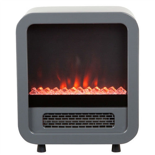 Modern Silver 1,500 Watt Electric Stove Fireplace Space Heater - YourGardenStop