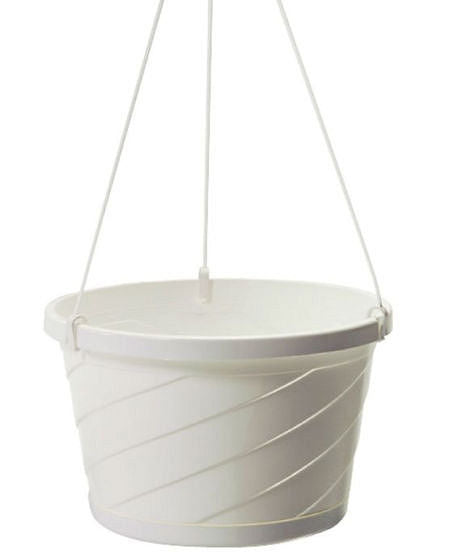 Set of 12 - White Euro Style Hanging Basket Planters