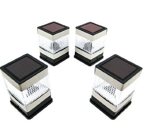 Set of 4 Solar Powered Deck or Post Cap LED Lights - YourGardenStop