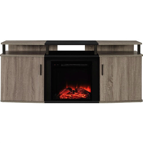 "Sonoma Oak / Black Electric Fireplace TV Stand (Up to 70"" TV)"
