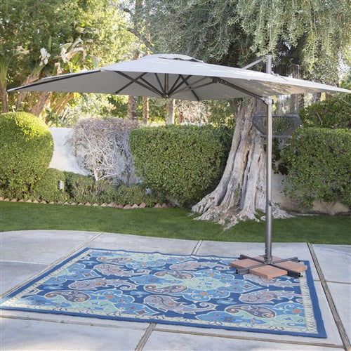 Square 8.5 Ft Offset Patio Umbrella with Mocha Shade and Bronze Finish Pole - YourGardenStop