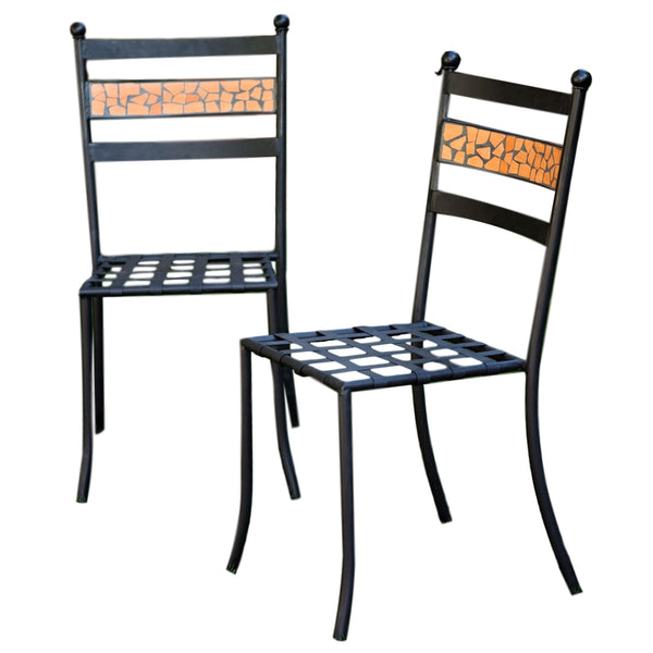 Set of 2-Patio Metal Bistro Chairs in Black Iron w/Terracotta Backrest - YourGardenStop