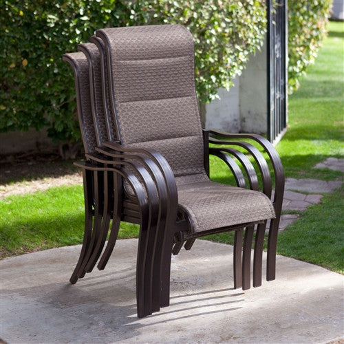 Set of 4- Stackable Patio Chairs with Bronze Padded Sling Seat & Back - YourGardenStop