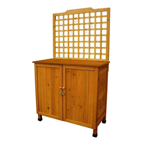 Outdoor Storage Solid Wood Cabinet Potting Bench with Hanging Lattice Trellis - YourGardenStop