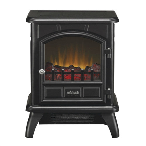Black Metal 400-Sq Ft Electric Space Heater with LED Flame - YourGardenStop